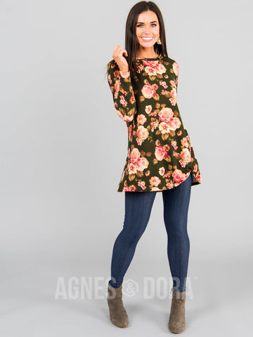Agnes & Dora™ Side Knot Tunic Hacci Olive/Peach Floral