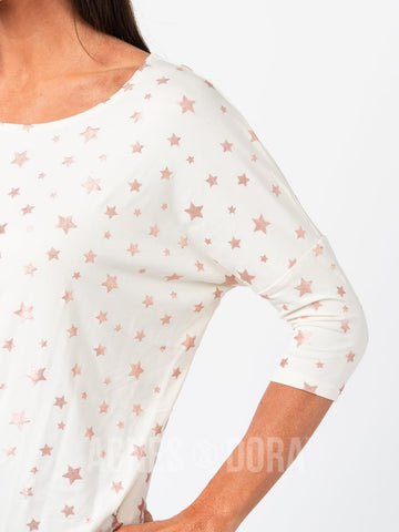 Dolman Tunic Cream W/ Rose Gold Metallic Stars