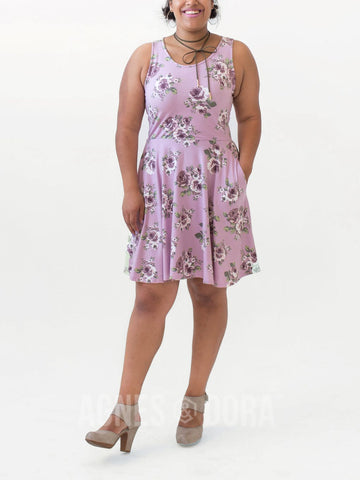 Fit & Flare Dress Love Me Tender Mauve and Plum