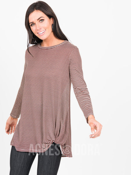 Agnes & Dora™ Side Knot Tunic Hacci Burgundy Stripe