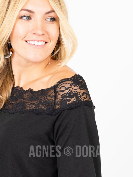 Agnes & Dora™ Off the Shoulder Lace Top Black