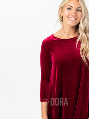 Agnes & Dora™ Velvet 3/4 Sleeve Swing Tunic Deep Berry