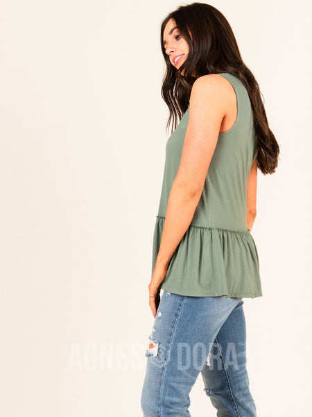 Agnes & Dora™ Relaxed Ruffle Tank DK Sage