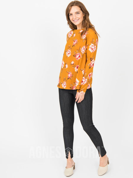 Cross Over Sweater Mustard Coral Floral