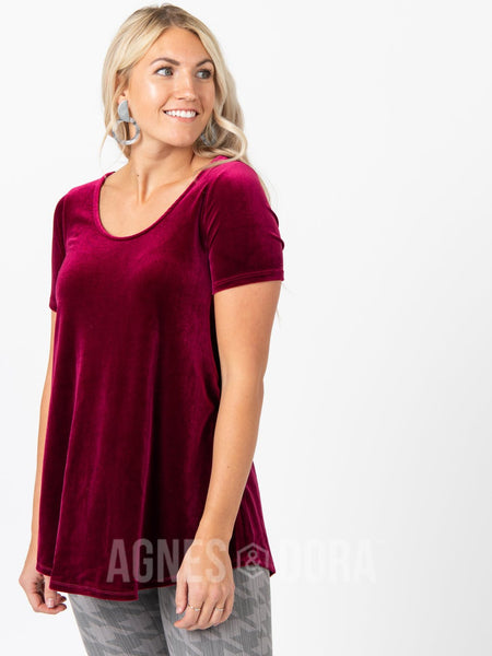 Agnes & Dora™ Everyday Tee Velvet Deep Wine