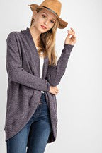 TULIP SHAPE BRUSHED HACCI CARDIGAN CHARCOAL