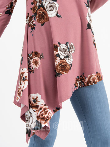 Asymmetrical Tunic Baby Suede Mauve Floral Long Sleeve