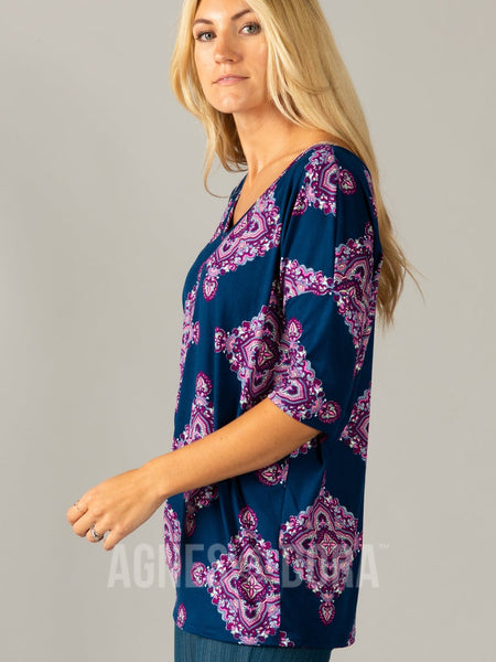Urban Pullover Double V-Neck Navy Orchid Boho
