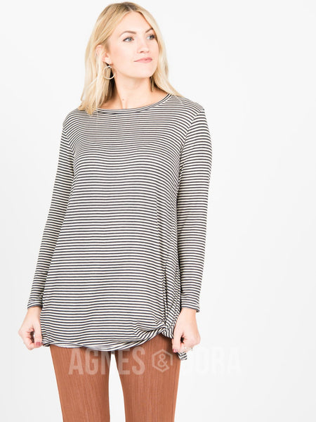 Agnes & Dora™ Side Knot Tunic Hacci Grey Stripe