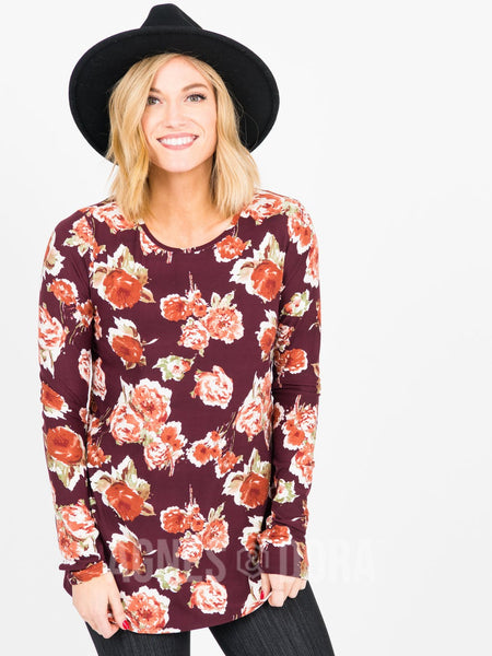 L/S Tee with Thumbhole Burgundy/Rose Floral