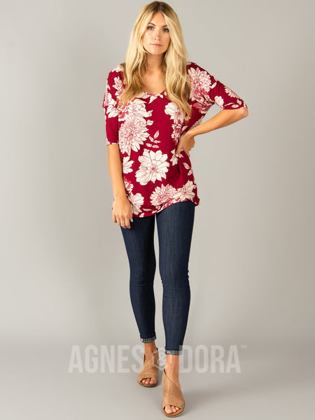 Urban Pullover Double V-Neck Magenta Ivory Floral