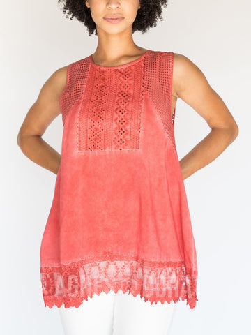 Woven Eyelet Tank Red