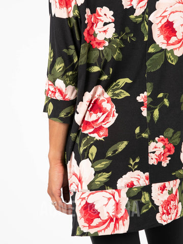 Deep Pocket Tunic Perennial Rose - Vintage Black