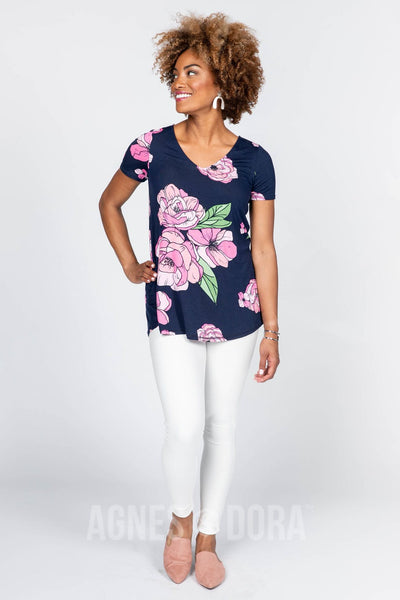 Agnes & Dora™ Everyday Tee V-neck Graphic Peony Print