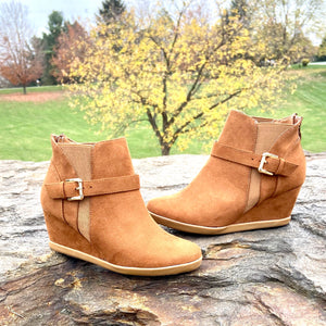 Beautiful Cognac Suede Bootie Wedge