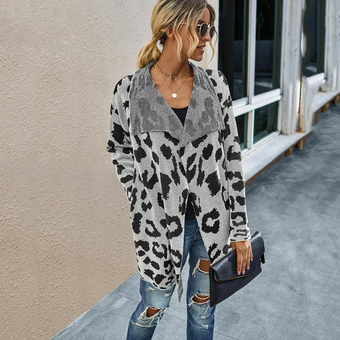 White Knit Leopard Print Cardigan With Pockets