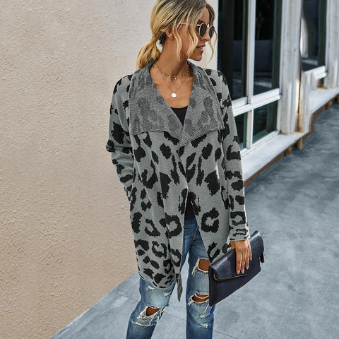 Grey Knit Leopard Print Cardigan With Pockets