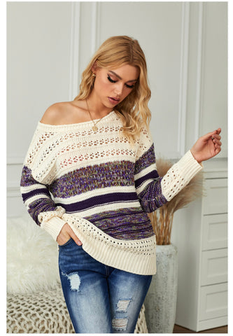 Purple Loose Openwork Round Neck Sweater