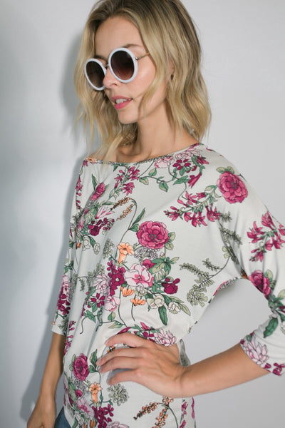 One Shoulder Dolman Floral Top