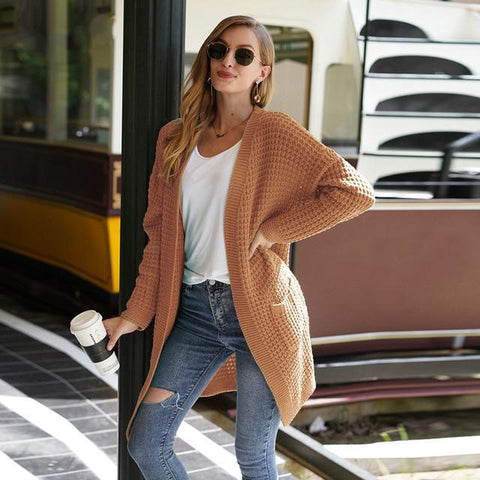 Coffee Oversize Solid Waffle Knit Cardigan Sweater