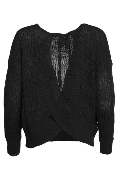 Cross Back Loose Knit Black Sweater Shoulder Tie