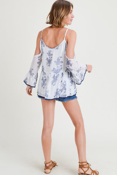 Cold Shoulder Ruffle Top Lace Edge