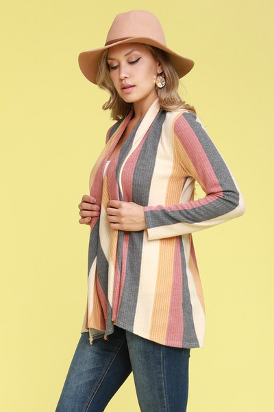 Brushed Hacci Open Front Cardi