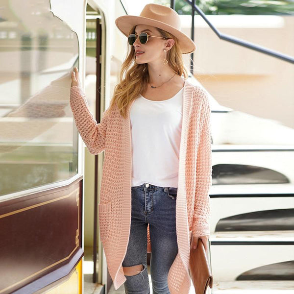 Light Pink Oversize Solid Waffle Knit Cardigan Sweater