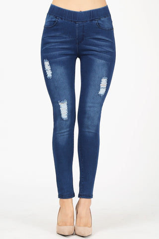 High Waist Distressed Stretch Denim Jeggings Jeans Pant