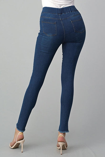 High Waist Distressed Raw Cross Hem Stretch Denim Jeggings
