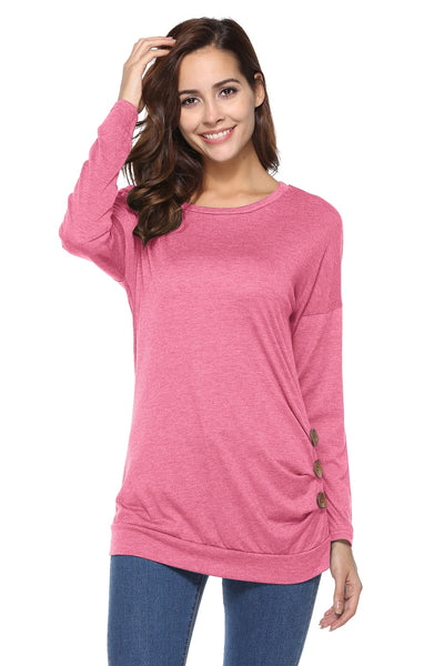 Side Button Basic Scoop Neck Top Tunic