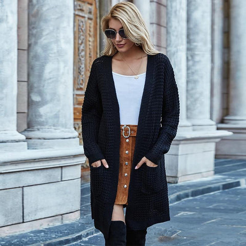 Black Oversize Solid Waffle Knit Cardigan Sweater