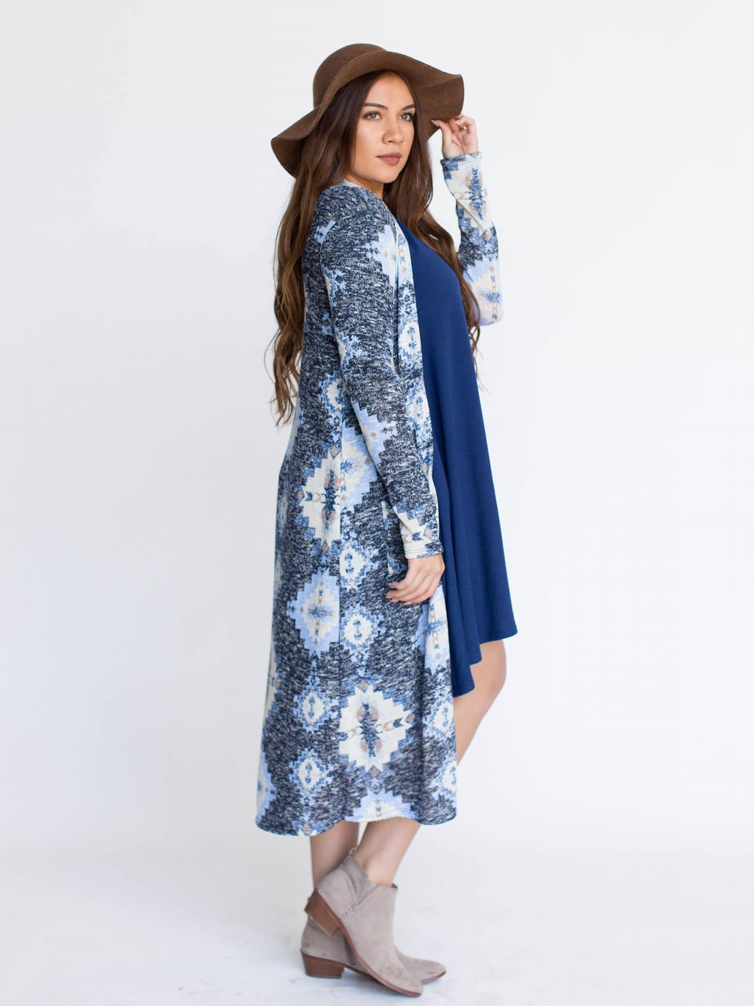 Duster Geo Latte Navy