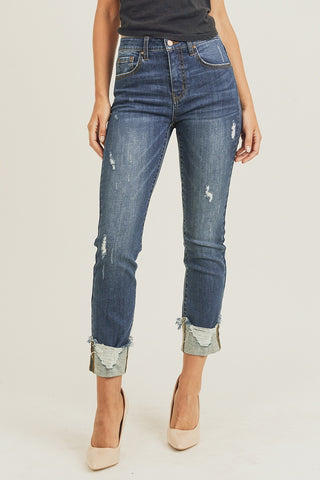 Risen Frayed Cuff Ankle Straight Jeans Denim