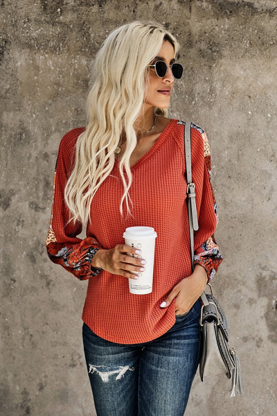 Patchwork Eyelet Thermal Waffle Knit Top