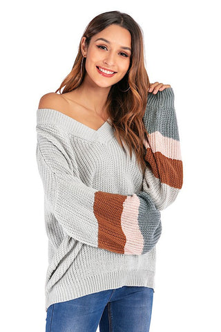 Color Block Knit Sweater Grey