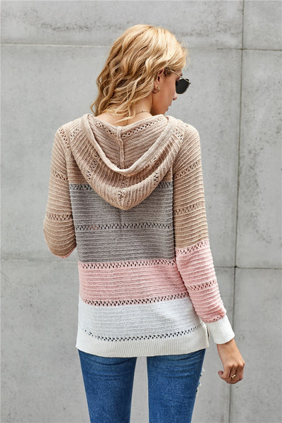 Bonfire Knit Hoodie Peach and Tan