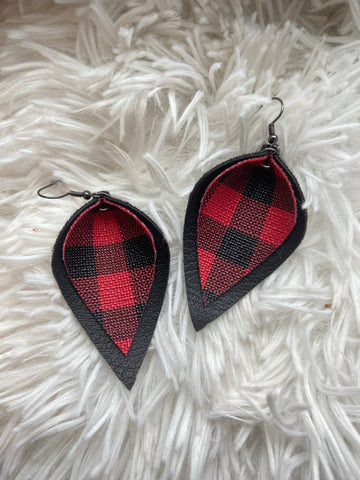 Double Layer Red Buffalo Plaid Earrings