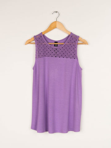 EYELET ESSENTIAL TANK PURPLE