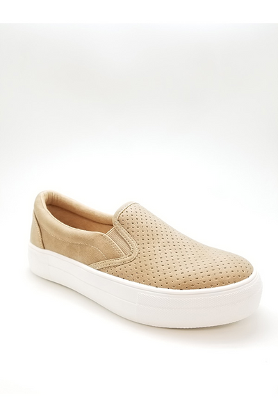 Neubuck Sneaker Flat Camel Faux Leather Shoe