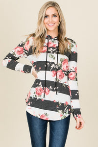 Floral Stripe French Terry Hoodie Top