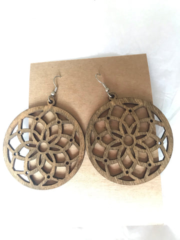 Handmade Laser Cut Wood Earrings
