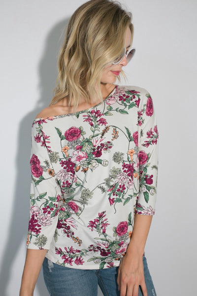 One Shoulder Floral Top