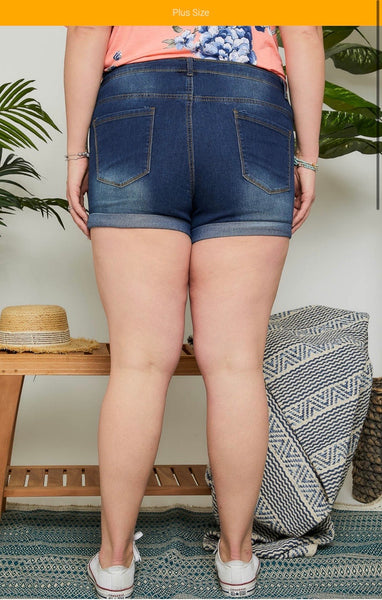 Casual Denim Cuffed Shorts Plus Size ( S-L also available!!)