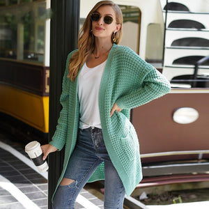 Mint Oversize Solid Waffle Knit Cardigan Sweater
