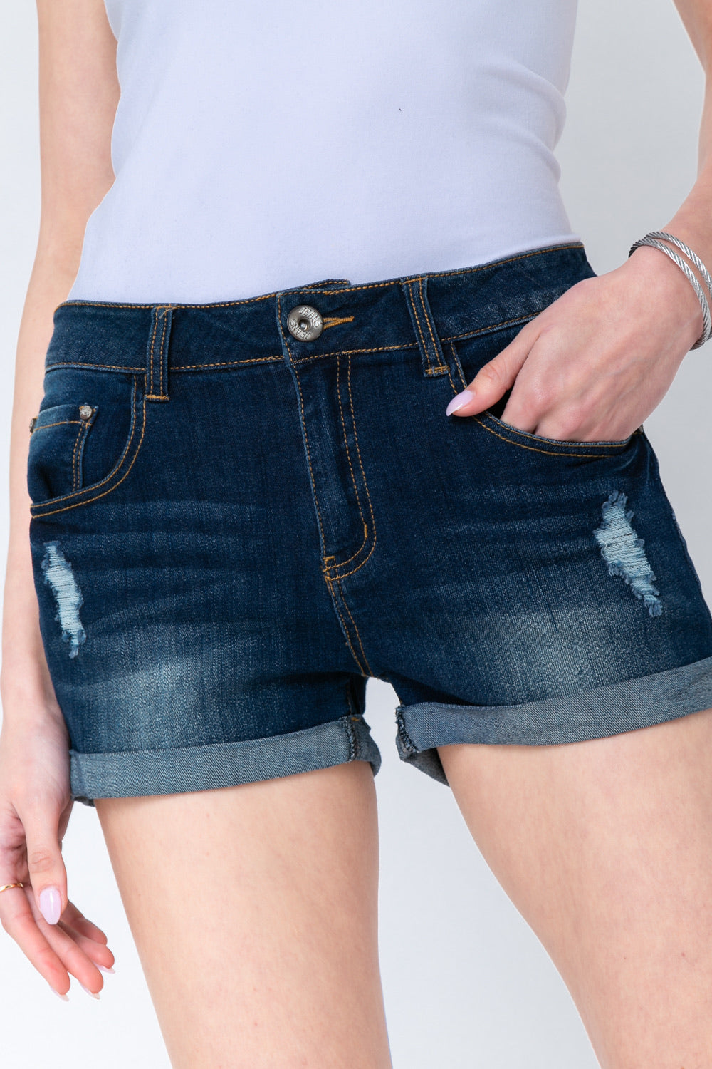 Casual Denim Cuffed Shorts S-L (Plus Size also available!!)