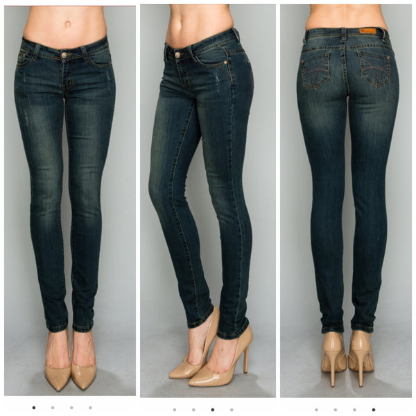 Medium Blue Denim Scratched Lightly Distressed Jeans