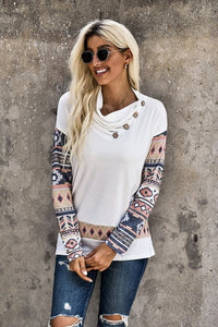 Southwest Sleeve Button Detail Top