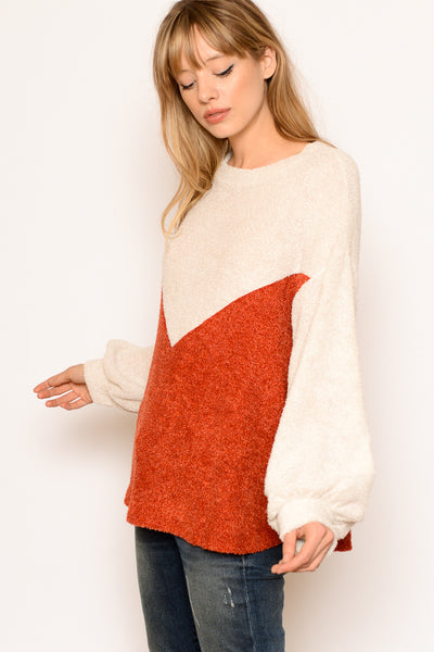Rust & Cream Chevron Color Block Terry Sweater