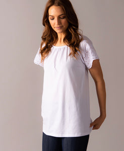 Agnes & Dora Eyelet Sleeve Top White